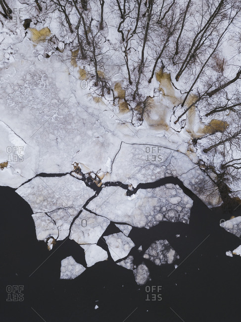 Russia- Saint Petersburg- Sestroretsk- Aerial view of icy shore of Gulf of Finland