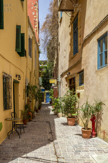 January 18, 2020: Greece- Crete- Chania- Potted plants along old town alley