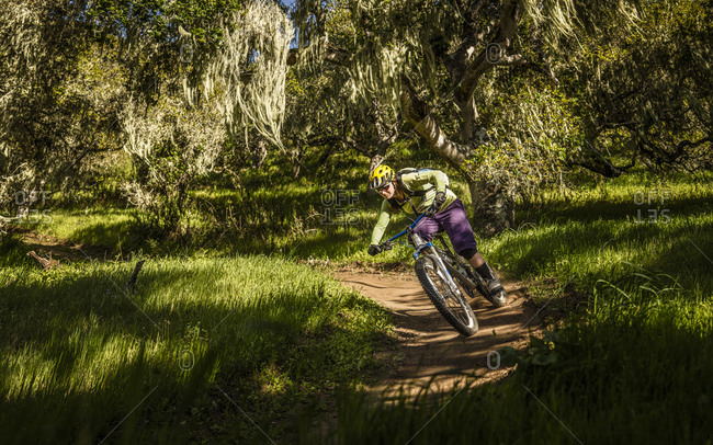 Woman riding on mountain bike down single trail through forest- Fort Ord National Monument Park- Monterey- California- USA