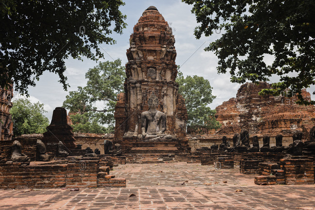 Ancient Buddha statue at temple in Ayutthaya- Thailand- Asia