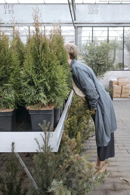Woman hiding her head in plants in flower shop