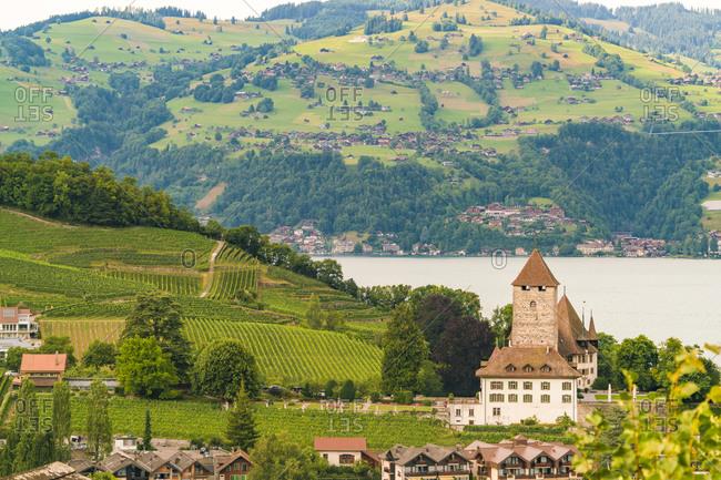 Beautiful village of Spiez on Lake Thun in Swiss Alps near Interlaken