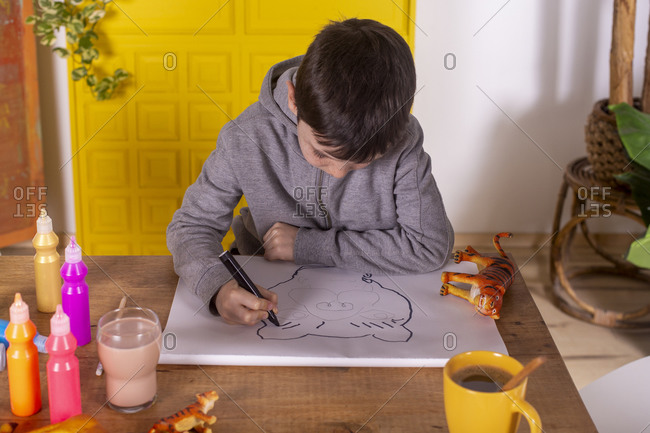 Boy drawing a tiger with marker pen.