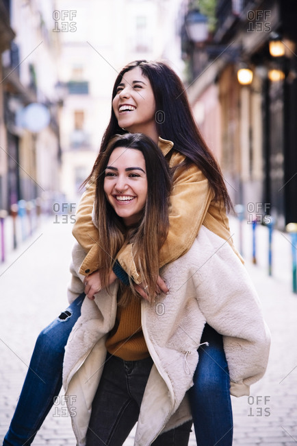 Beautiful Lesbian Couple Having Fun At The Street. LGBT Concept.