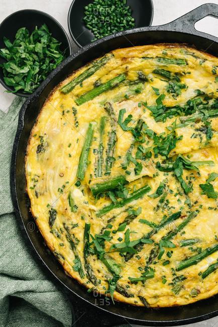 Baked in skillet asparagus frittata still life