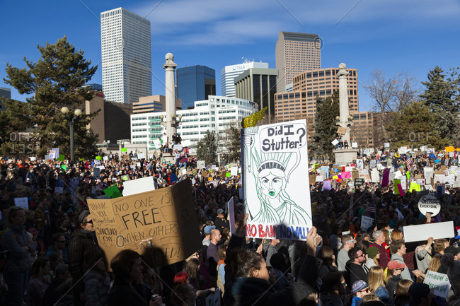 February 14, 2017: People protest President Trump Muslim travel ban in Denver, Colorado