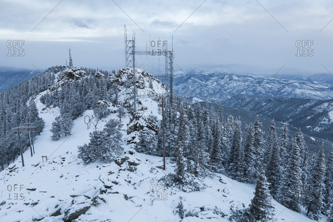 Communication towers and power lines on Squaw Mountain, Colorado