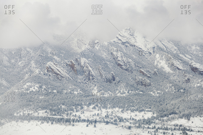 South Flatirons in snow outside Boulder, Colorado