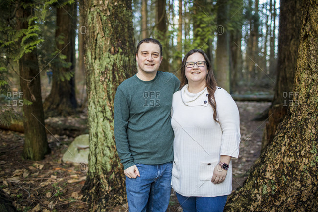 Portrait of couple in the forest.