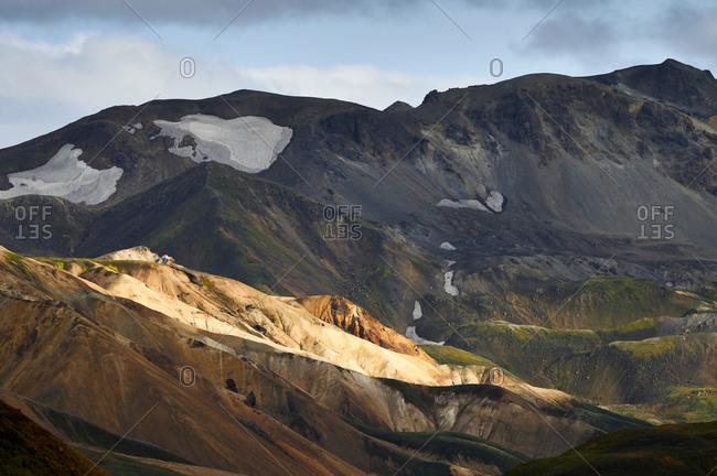 Rough mountain ridge with snow