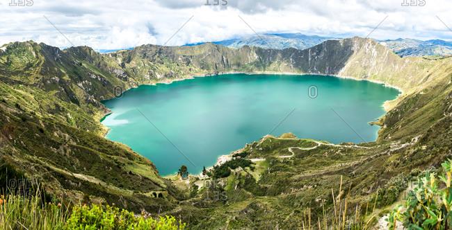 Amazing Quilotoa Lake in Ecuador Andes