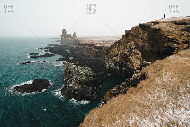View of the Londrangar Basalt Cliffs in Iceland