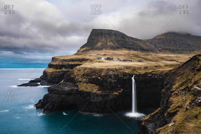 The Mulafossur Waterfall at Gasadalur in the Faroe Islands
