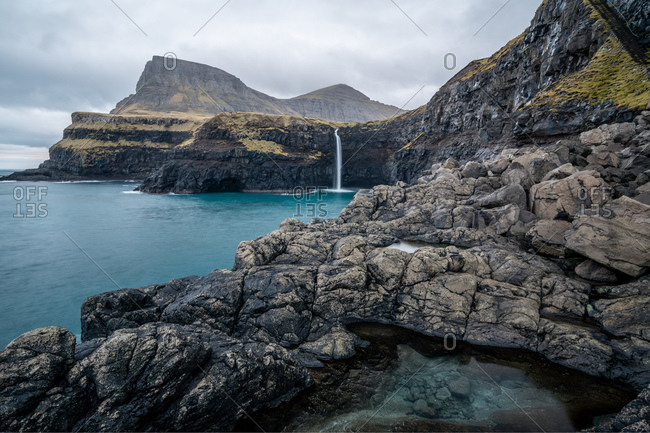 View of the Mulafossur Waterfall at Gasadalur in the Faroe Islands
