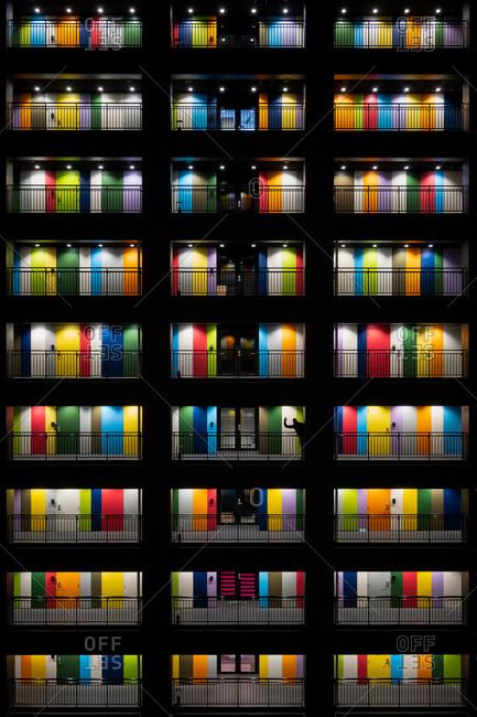 Tokyo, Japan - March 30, 2018: Multicolored doors of Soho in Odaiba