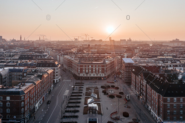 Copenhagen, Denmark - March 27th, 2020: Overlooking the district Vesterbro of Copenhagen at sunset