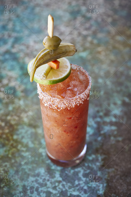 Bloody Mary with salted rim and pickled vegetables