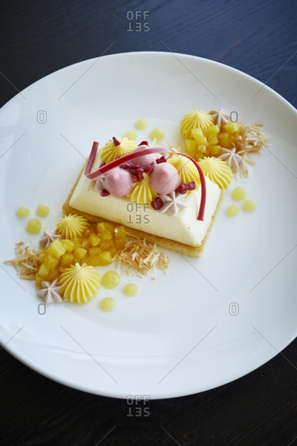 Fine dining cheesecake dessert
