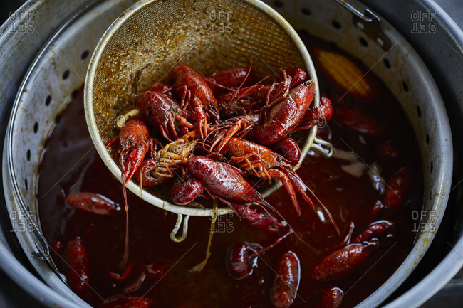 Cooked crawfish at a crawfish boil