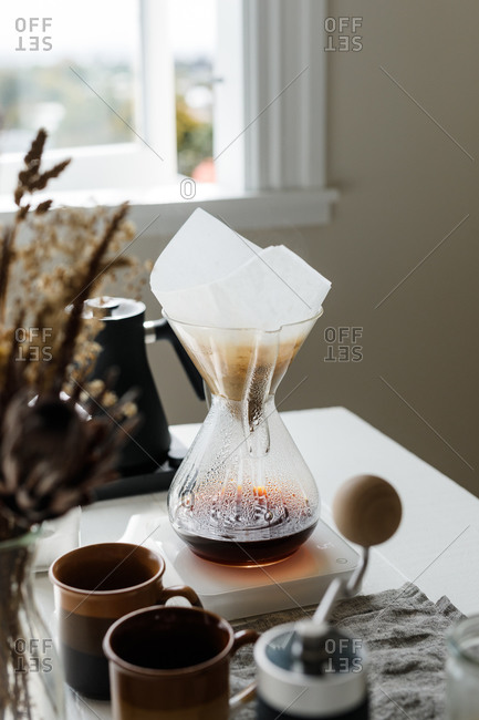 Filter coffee on a kitchen counter