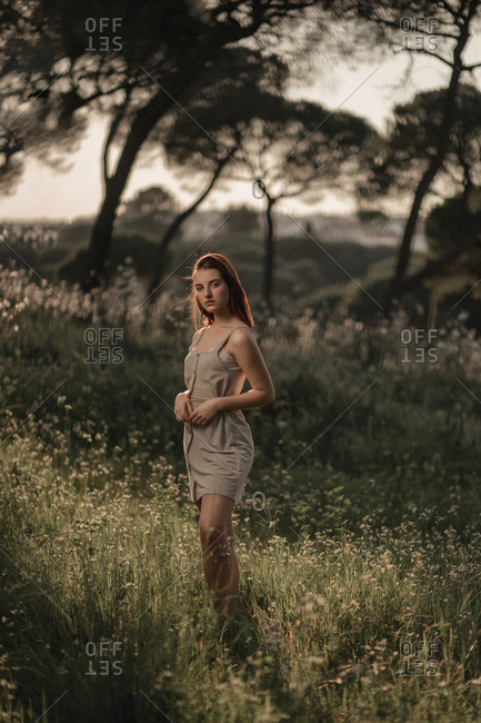 Full shot of a young beautiful woman wearing a beige dress, posing in a field full of flowers and surrounded by trees and backlit by sunlight at sunset.