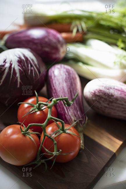 Variety of fresh vegetables on kitchen counter