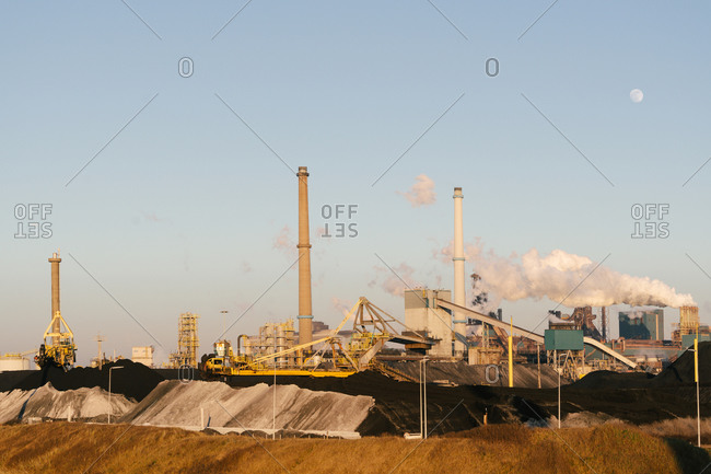 February 7, 2020: Steel factory of Tata Steel on the coast of The Netherlands, near the town of Velzen.