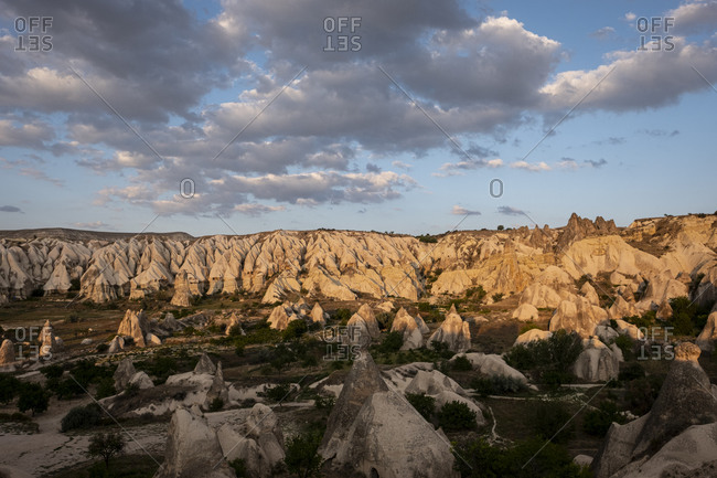 Goreme, Turkey - 30 August 2019 : Sunset over Cappadocia's Rose Valley