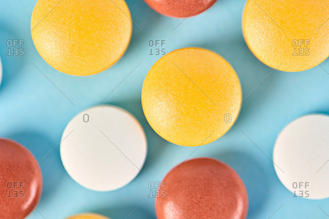 Various  pills on blue background  for medical concept