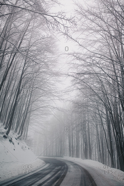 A snowy mountain road covered by fog