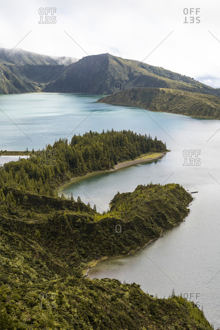 Scenic view of Sao Miguel Island and lake against sky at Azores- Portugal