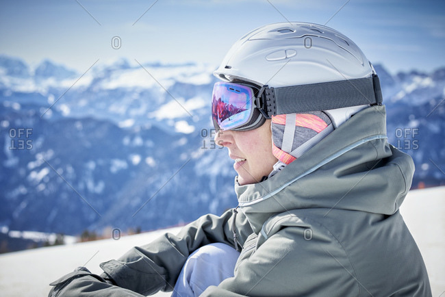 Portrait of smiling woman enjoying view at distance