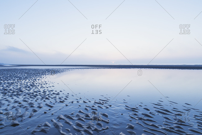 Scenic view of sea against sky at dusk- North Sea Coast- Flanders- Belgium