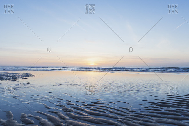 Scenic view of sea against sky during sunset- North Sea Coast- Flanders- Belgium