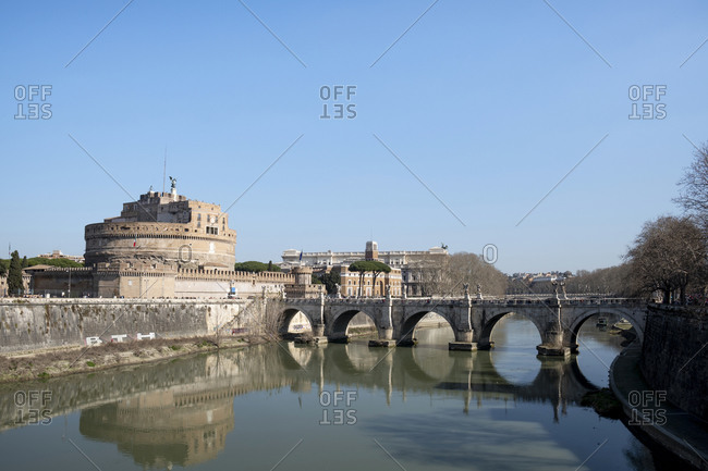 February 24, 2020: Italy- Rome- Clear sky over Mausoleum of Hadrian and Ponte Sant'Angelo