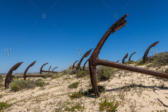 Ilha de Tavira with anchor cemetery on Praia do Barril beach, with many rusting anchors in the sand. Eastern Algarve, Portugal