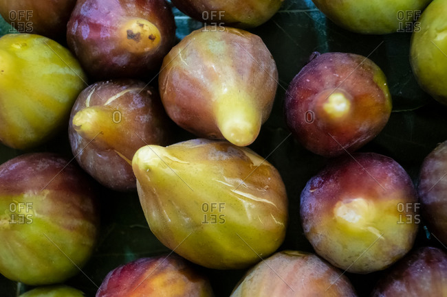 Ripe figs on market stall in Tavira market, Algarve, Portugal
