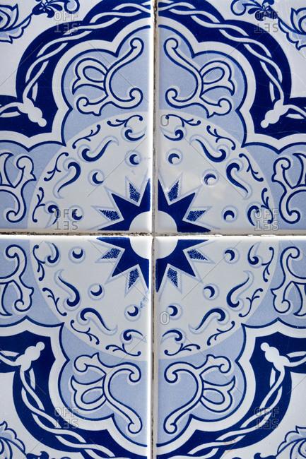 Vintage dark blue tiles, Algarve, Portugal
