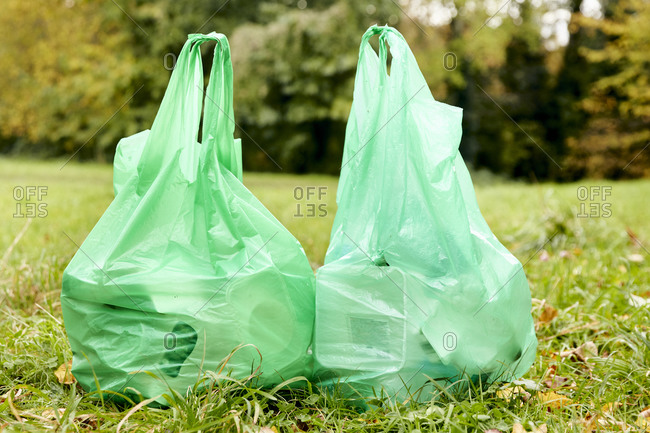 Two full plastic bags sitting side by side on the grass filled with rubbish for recycling