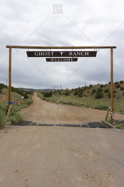 August 9, 2019: Woman Standing at Ghost Ranch Entrance, New Mexico