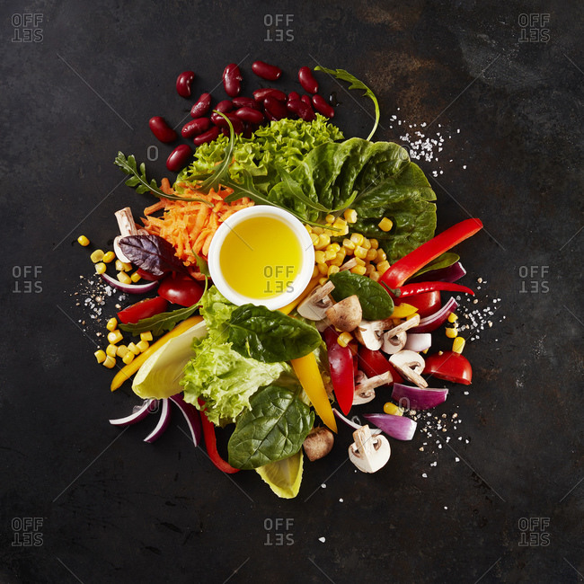 Heap of various culinary ingredients