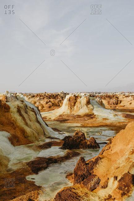 Volcanic landscape against sky at Dallol Geothermal Area in Danakil Depression- Ethiopia- Afar