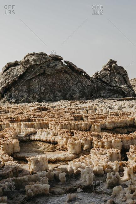 Beautiful volcanic landscape against sky at Dallol Geothermal Area in Danakil Depression- Ethiopia- Afar