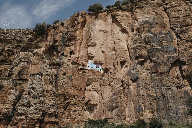 Low angle view of rock church at -Abiy Addi- Ethiopia- Afar