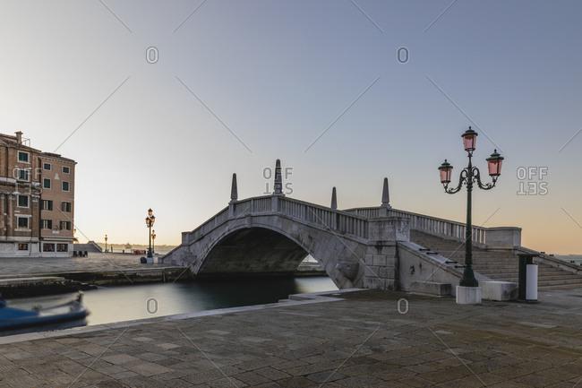 March 25, 2020: Italy- Venice- Puente Arsenale bridge at dawn