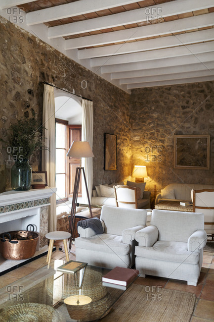 Living room of an old house- Mallorca- Spain