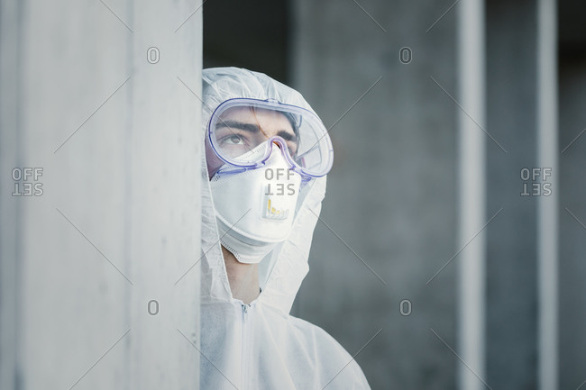 Portrait of man wearing protective clothing
