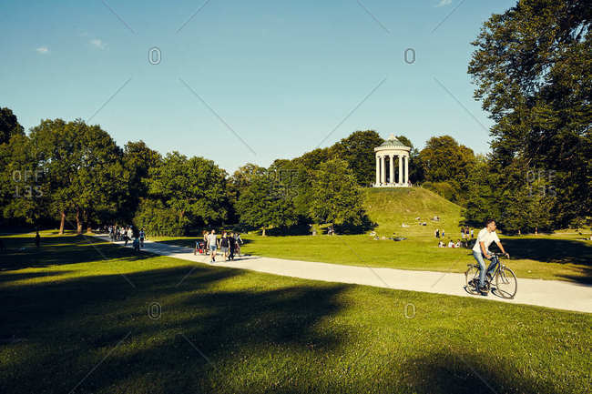 Munich, Germany - July 16, 2017: English Garden with people enjoying the outdoors