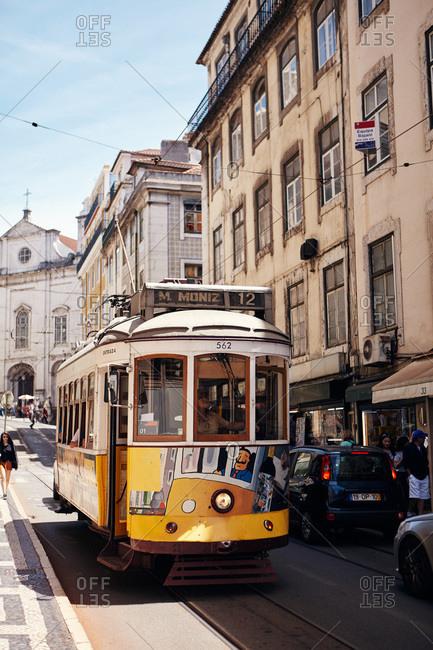 Lisbon, Portugal - May 24, 2019: Traditional tram car on the Lisbon tramway