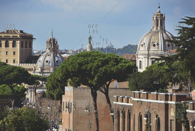 Elevated view over Rome, Italy with views of cathedral domes